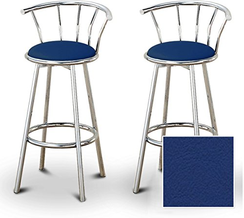 (The Furniture Cove 2 Blue Vinyl Specialty/Custom Chrome Barstools with Backrest Set)