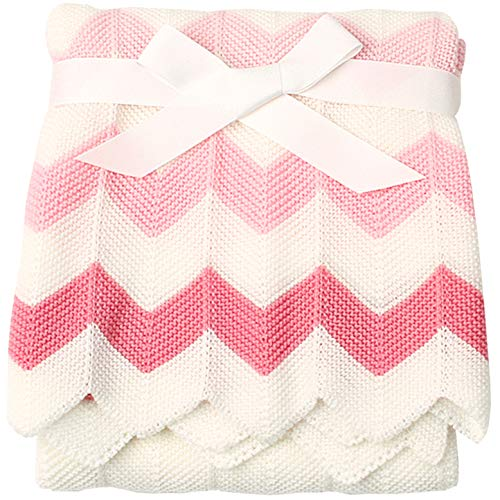 Cozyholy Elegant Knit Blankets Soft Baby Throw for Cribs Neutral Stroller Cover with Wide Ribbed Border for Girls Boys, 40x30 inch, Chevron (Pink)