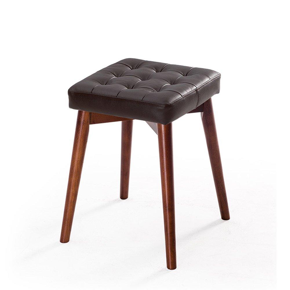 レザーダイニングチェアベッドルームリビングルームレストランスクエアスタック可能な木製テーブルスツールファッションドレッシングスツール (色 : ブラウン ぶらうん, サイズ さいず : Red-brown) B07DZXPJBN Red-brown ブラウン ぶらうん ブラウン ぶらうん Red-brown