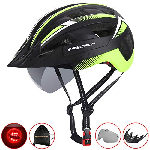 Basecamp Bike Helmet Men/Women,Bicycle Helmet BC-023 CPSC/CE Certified with LED Light+Detachable Magnetic Goggles+Sun Visor+Reflective Straps Adjustable Cycling Helmet Bonus with Portable Backpack