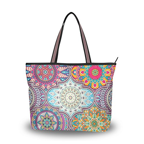 U LIFE Hippie Mandala Patchwork Geometric Floral Large Carry On Tote Bag - Sungalasses