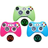 XFUNY® Silicone Case for Xbox 360, Pack of 3PCS Glow In Dark Protective Case Soft Silicone Skin Protector Cover for Microsoft Xbox 360 Controller
