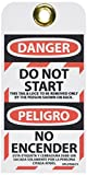NMC SPLOTAG15''DANGER - EQUIPMENT LOCK-OUT A LIFE IS ON THE LINE'' Bilingual Lockout Tag, Unrippable Vinyl, 3'' Length, 6'' Height, Black/Red on White (Pack of 10)