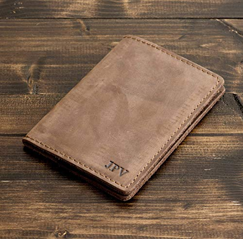 Pegai Personalized Passport Cover, Distressed Leather Passport Holder, Rustic Passport Case - DeKalb | Sand Brown (Monogrammed Passport Cover)