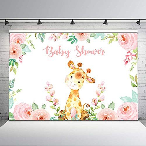 Mocsicka Girl Giraffe Baby Shower Backdrop Safari Floral Baby Shower Photo Background 7x5ft Jungle Giraffe Pink Flower Backdrops Baby Shower Banner Decors Supplies