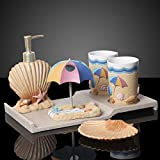Ocean Beach Shell Design 6 Piece Bathroom Accessories Set Collection Featuring Soap Dispenser,Toothbrush Holder,Tumbler,Tray and Soap Dish,Great Gift for Friends,Family