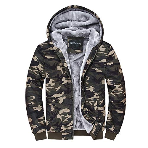 - Dreamskull Men's Camouflage Coat Cotton Casual Hooded Hoodies Fleece Cashmere Winter Jacket (XXL)