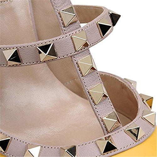 Scarpe Punta Pan Prigioniera Pompe Di Slingback Strappy Opaco Giallo Pelle Sandali Da Vite Borchie Indicati Dell'oro Caitlin Donna Stiletti Tallone fWB1nqnxgR