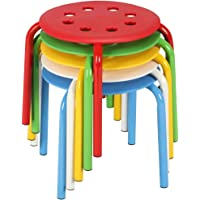 Yaheetech 12in Plastic Stack Stools - Colored Classroom Stackable Stools Chairs for Kids Students Metal Leg Bar Stools Pack of 5