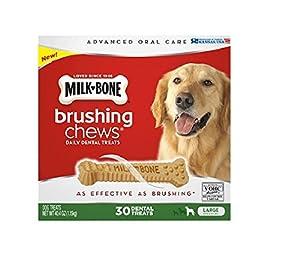 Milk-Bone Brushing Chews Daily Dental Treats, Large (30 ct.) ,40.4 oz (1.15kg) (pack of 2)