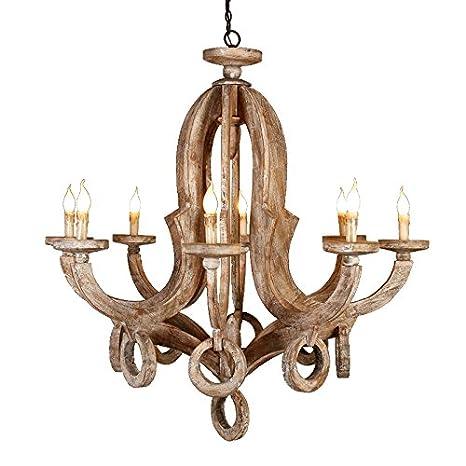 newest 57055 36bb0 Lovedima Cottage Vintage Wood Metal 8-Light Chandelier Ceiling Pendant  Chandelier for Living Room, Bedroom, Dining Room and Kitchen ...