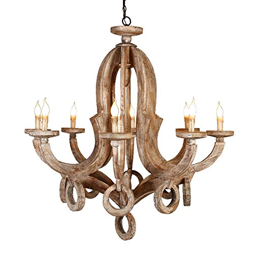 Lovedima Rustic Cottage Chic Sculpted Wooden 8-Light Chandelier Ceiling Light Fixture with Candle Shaped Lighting Dinning Room/5 Star Hotel (Distressed-8-Light)