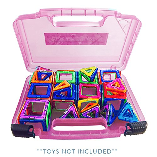 (New Life Made Better Magnetic Carrying Case, Compatible with Magformers and Magna Tiles, Playset Organizer (Pink))
