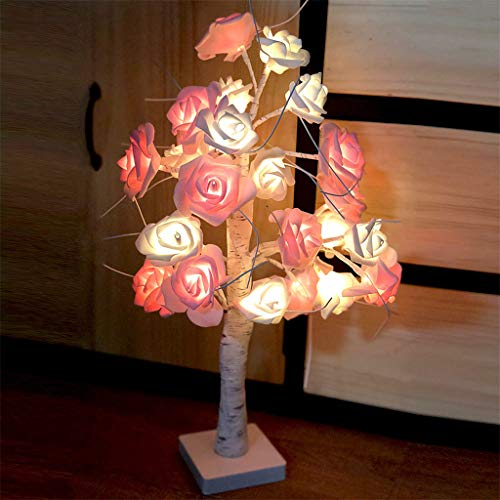 (Dirance Bonsai lamp 24 LED Rose Tree Lights - USB Battery Powered Desktop Night Light (Yellow))