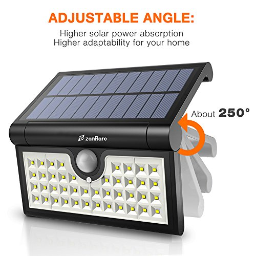 42 LED Motion Sensor Solar Light Outdoor, Zanflare Super Bright Solar Powered Wall Path Light, Wireless Home Security Outdoor Light with Motion Activated Auto ON/Off (2 Pack) by Zanflare (Image #1)