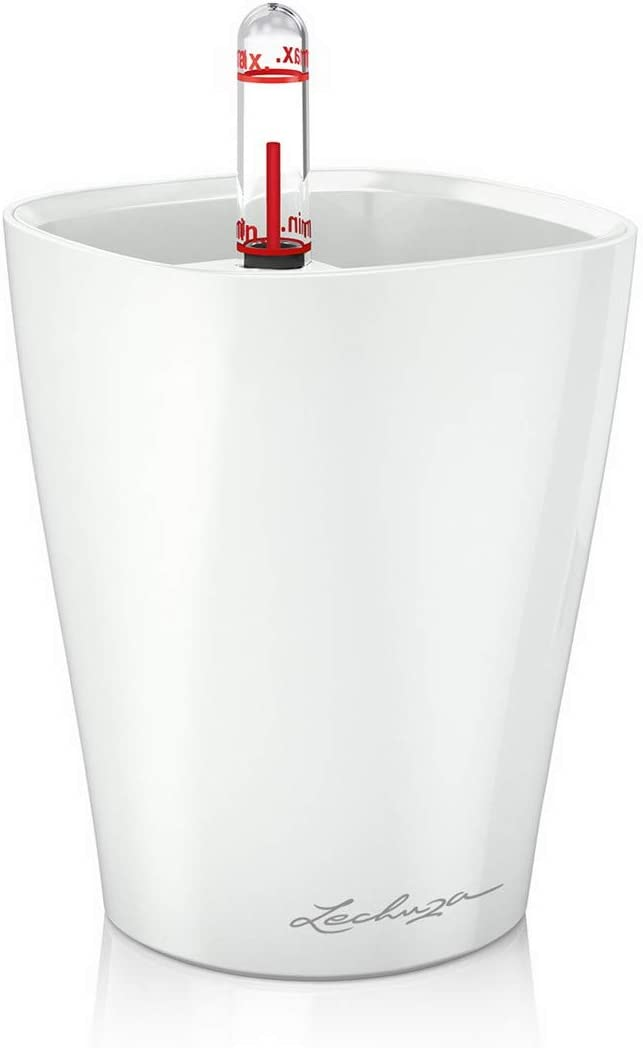Lechuza 14950 Mini Deltini Self-Watering Garden Planter for Indoor and Outdoor Use, White