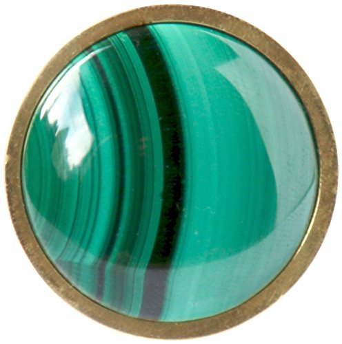 Stephen D. Evans K-R-MALA-AB Malachite Stone Knob, Antique Brass