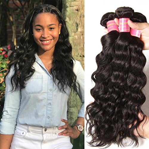 Donmily 8A Remy Brazilian Natural Wave Hair 3 Bundles 100% Unprocessed Brazilian Virgin Human Hair Weft Cheap Wavy Hair Weave Natural Color (20 22 24)