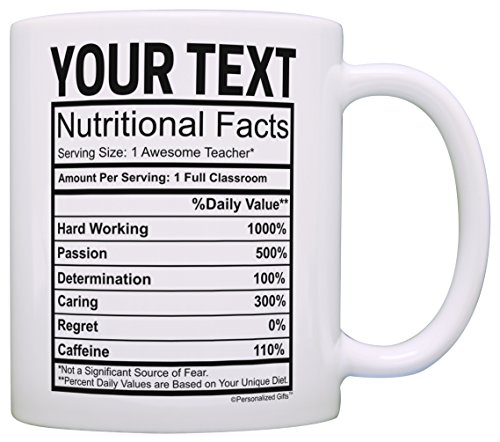 Teacher Appreciation Gifts Custom Name Teacher Nutritional Facts Teacher Gifts for Women Personalized Gift Coffee Mug Tea Cup White