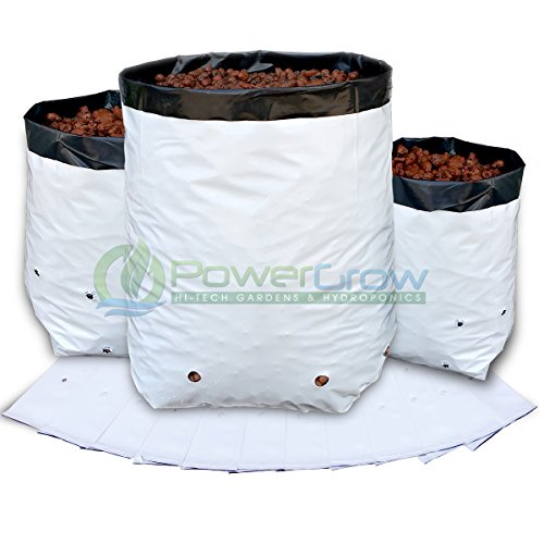 Grow Bags - 1 Gallon Black and White - White Grow Plastic