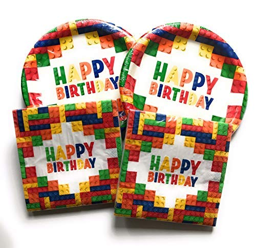 Happy Birthday Plates and Napkins Sets - Very Cute Sets of Happy Birthday Theme Paper Plates and Napkins - Multiple Themes Sizes - Great Value