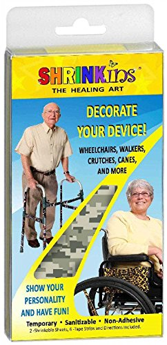 Medical Device Decorating Cover Kit | Fun Fashionable Shrink Wrap Decorations – Walkers Wheelchairs Canes Crutches IV Poles | Temporary Uses No Adhesive by Shrinkins The Healing Art | Adult & Teen