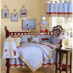 Sweet Jojo Designs Frankie's Fire Engine Truck Baby Boy Blue and Red Bedding 9pc Crib Set