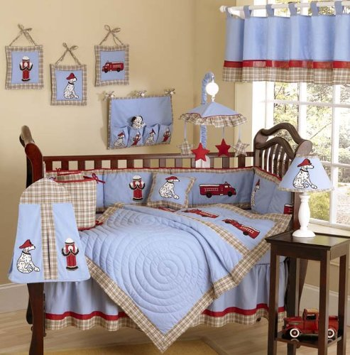 Sweet Jojo Designs Frankie's Fire Endine Truck Baby Boy Blue and Red Bedding 9pc Crib Set