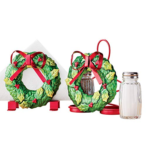 Festive Holiday Wreath with Red Bow Metal Kitchen Accessory Set - Includes Napkin Holder & Salt and Pepper Caddy -Christmas Kitchen Decor