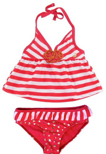 Rugged Bear Little Girls' Sailing 2Pc Tankini Two Piece Swimsuit, Coral 2T