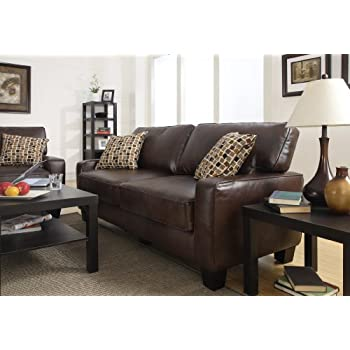 """Serta RTA Palisades Collection 78"""" Bonded Leather Sofa in Chestnut Brown"""