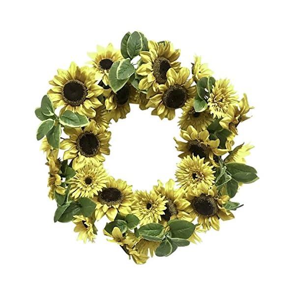 Ella and Lulu 24″ Lush Sunflower Wreath Wall décor Yellow