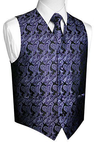 Brand Q Men's Tuxedo Vest, Tie & Pocket Square Set-Purple Paisley-XL