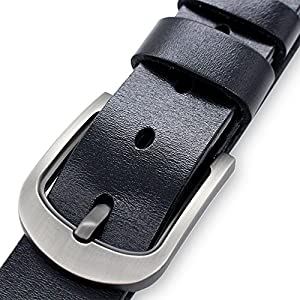 21Guns Men Genuine Leather Dress Belt with Single Prong Buckle (Waist 33-35, Black)