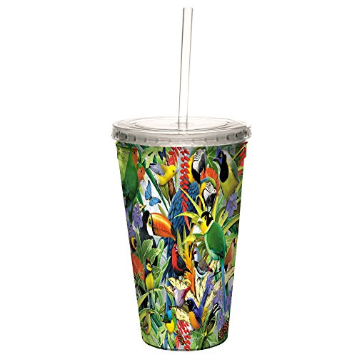 Tree-Free Greetings CC35808 Cool Cups, Double-Walled Pba Free with Straw and Lid Travel Insulated Tumbler, 16 Ounces, Rainforest Birds by Tree-Free Greetings