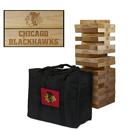 Chicago Blackhawks Wooden Tumble Tower Game by Victory Tailgate