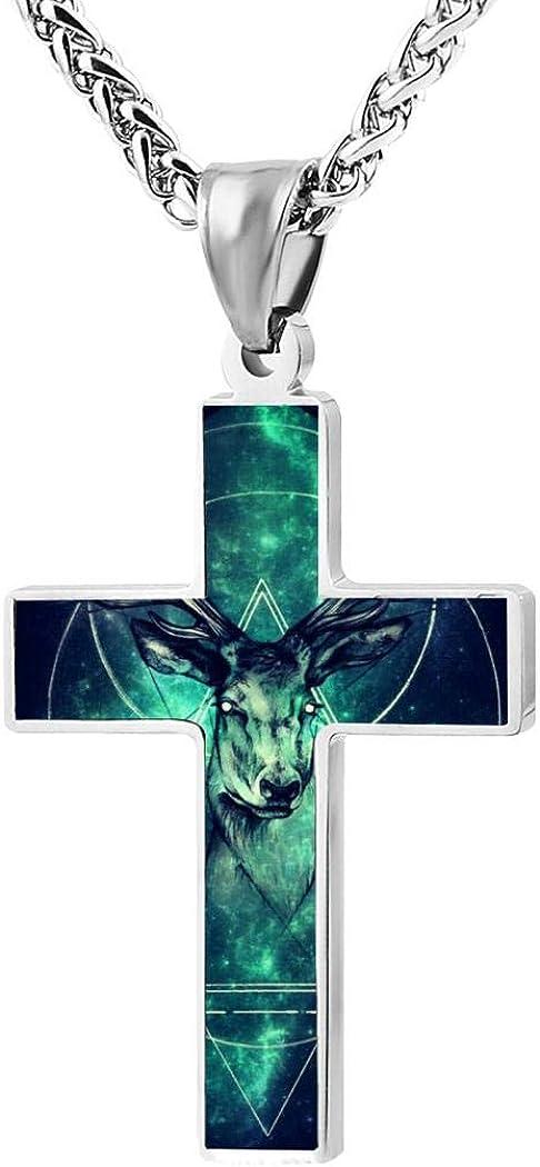 Personalized Jewellery Unisex 3d Printed Custom Necklace Space deer Zinc Alloy Cross Pendant 24 Inch
