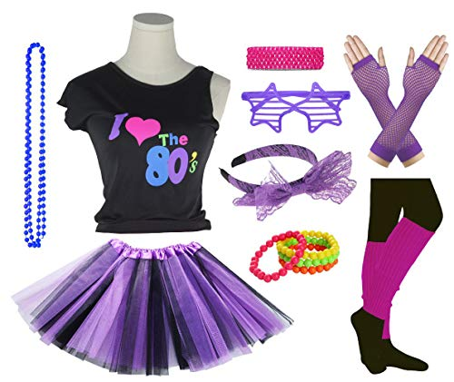 (Girls I Love The 80's Disco T-Shirt for 1980s Theme Party Outfit (Black&Purple, 8-10)
