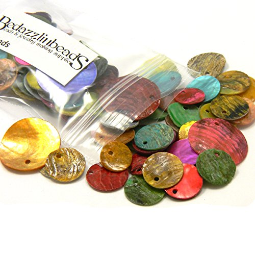100 Assorted Flat Round Mussel Shell Coin Charms Mixed Colors & Sizes