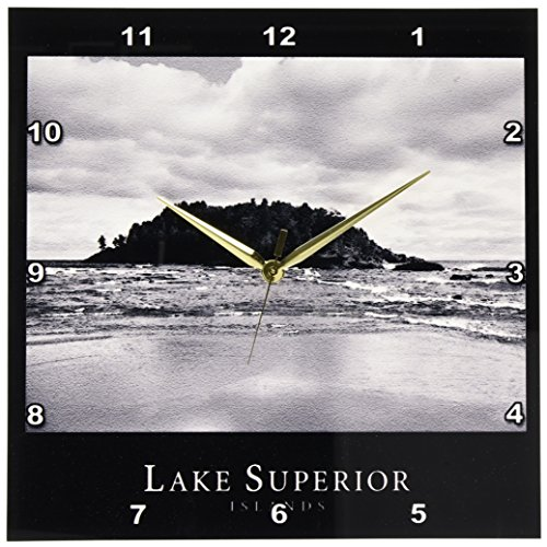 Lake Islands Superior - 3dRose DPP_18439_2 Lake Superior Islands 3 Black and White Photograph of Rocky Islands in Michigan-Wall Clock, 13 by 13-Inch