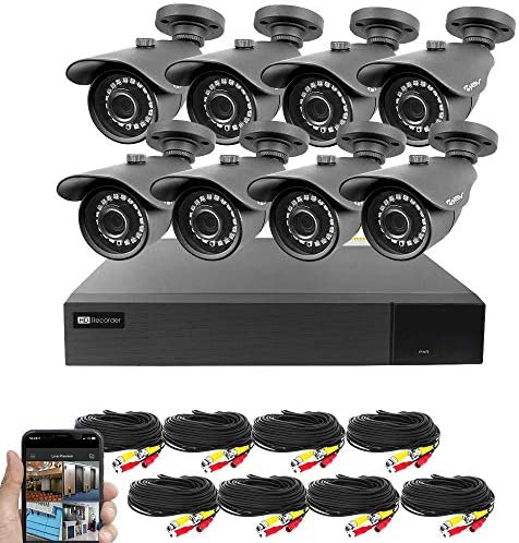 Best Vision 16CH 4-in-1 HD DVR Security Camera System 1TB HDD , 8pcs 2MP High Definition Outdoor Cameras with Night Vision – DIY Kit, App for Smartphone Remote Monitoring
