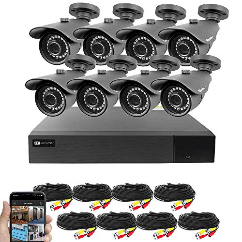 Best Vision 16CH 4-in-1 HD DVR Security Camera System (1TB HDD), 8pcs 2MP High Definition Outdoor Cameras with Night Vision - DIY Kit, App for Smartphone Remote Monitoring - Night High Resolution Camera