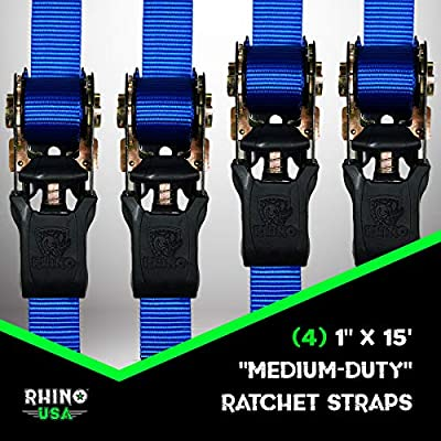 RHINO USA Ratchet Tie Down Straps (4PK) - 1,823lb Guaranteed Max Break Strength, Includes (4) Premium 1