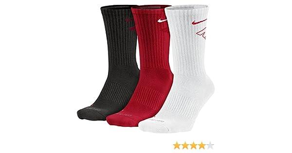 Nike 3PPK Dri Fit Fly Crew (SMLXL) - Calcetines unisex, color blanco/gris/rojo, talla S: Amazon.es: Zapatos y complementos