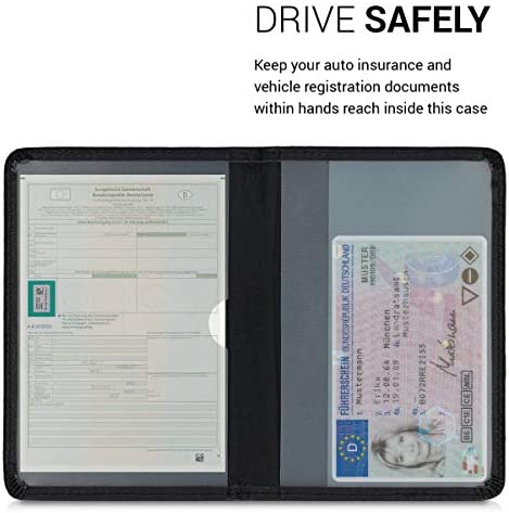 Black//Multicolor Car Document Holder for Vehicle Documents and Cards PU Leather with Design kwmobile Registration and Insurance Holder
