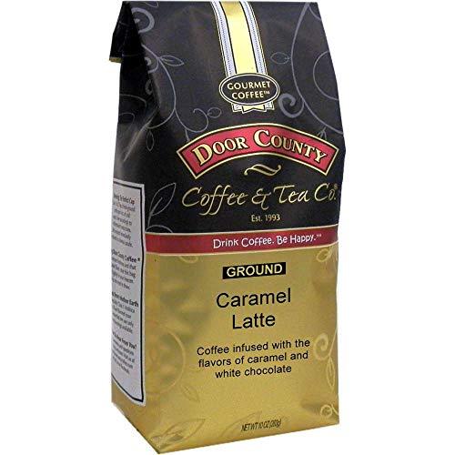 Door County Coffee, Caramel Latte, Caramel & White Chocolate Flavored Coffee, Medium Roast, Ground Coffee, 10 oz Bag