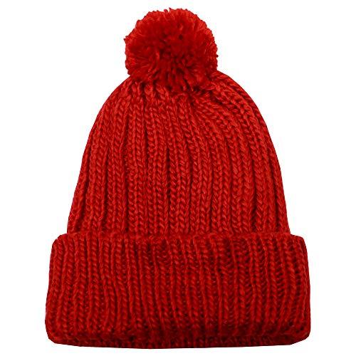 City Hunter Ck1081 Solid Pom Pom Knit Beanie Hat (Red)