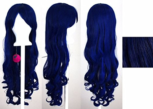 [Fashion 80CM Fashion Lady Women Long Wavy Curly Hair Anime Cosplay Party Wig Royal Blue] (Lime Green Wigs)