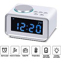 Wonyered Reloj Despertador Digital Radio FM con Alarma Dual Digital Pantalla LCD Regulable y Termómetro de Interior Puerto de Carga USB 2.1 A y 1.1 A