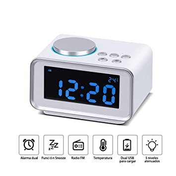 Wonyered Reloj Despertador Digital Radio FM con Alarma Dual Digital Pantalla LCD Regulable y Termómetro de